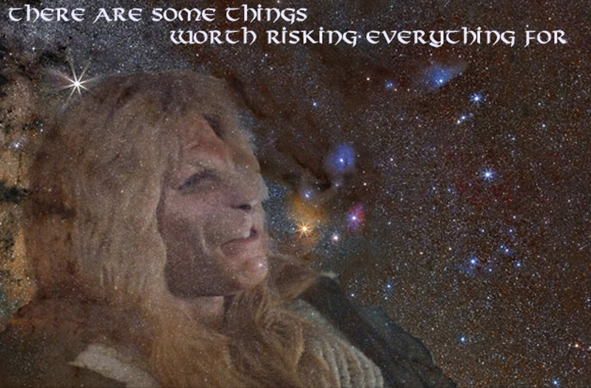 Vincent almost laughing, the Dark River nebula in the background. Text reads: There are some things worth risking everything for