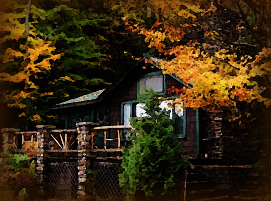 The cabin at the lake, in autumn, at night