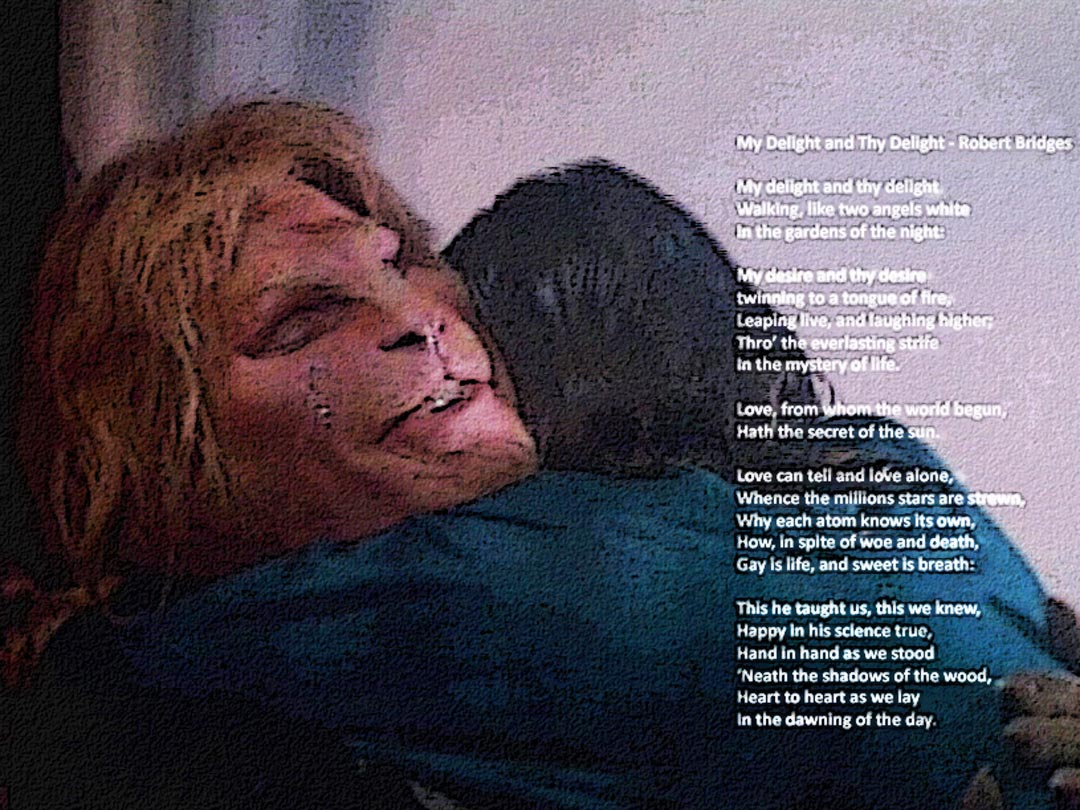 "Catherine, having fallen into Vincent's arms, and Vincent smiling because of it, in the rain beneath the bandshell. Text is the poem ""My Delight and Thy Delight"" by Robert Bridges"