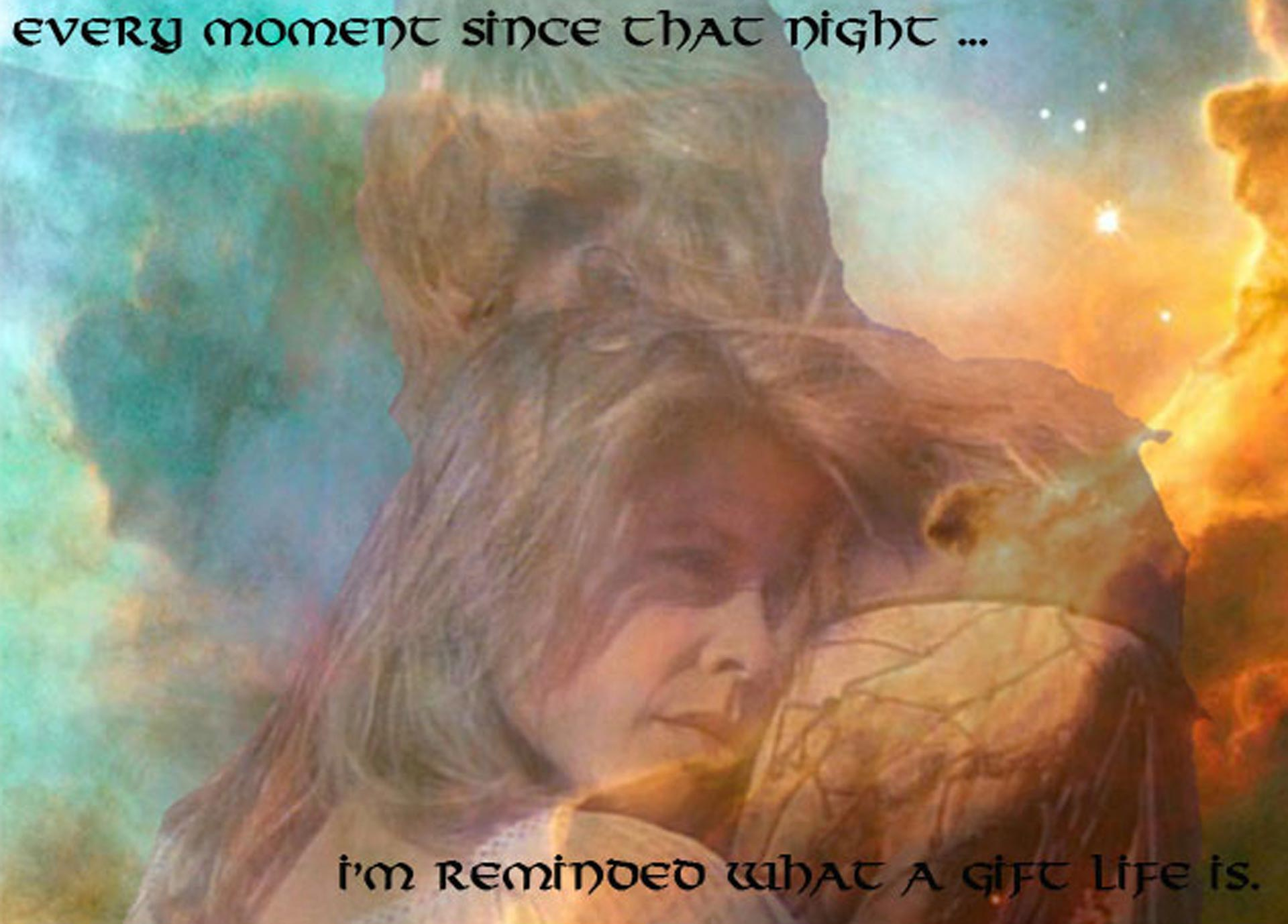 The Omega Swan nebula, Vincent and Catherine in an embrace. Text reads: Ever since that night, I'm reminded what a gift life is
