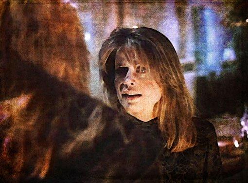 Catherine at her open balcony door, greeting Vincent