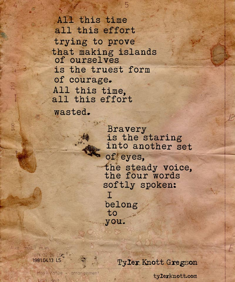 a typewritten poem on tea stained paper