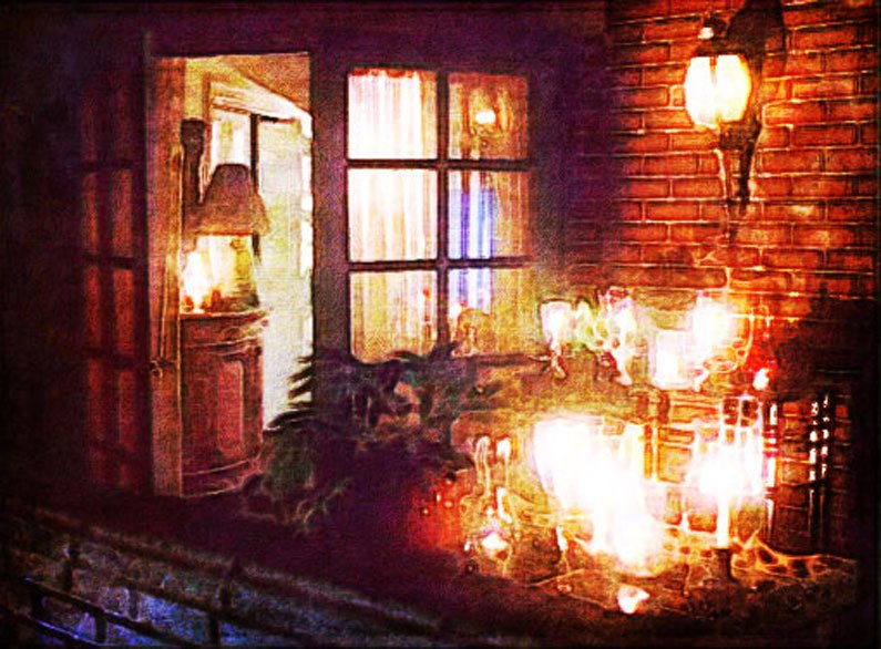 Catherine's candlelit - but empty - terrace