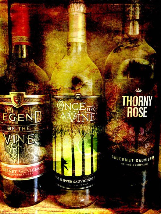 Three wine bottles: Legend of the Vine, Once Upon a Vine, Thorny Rose