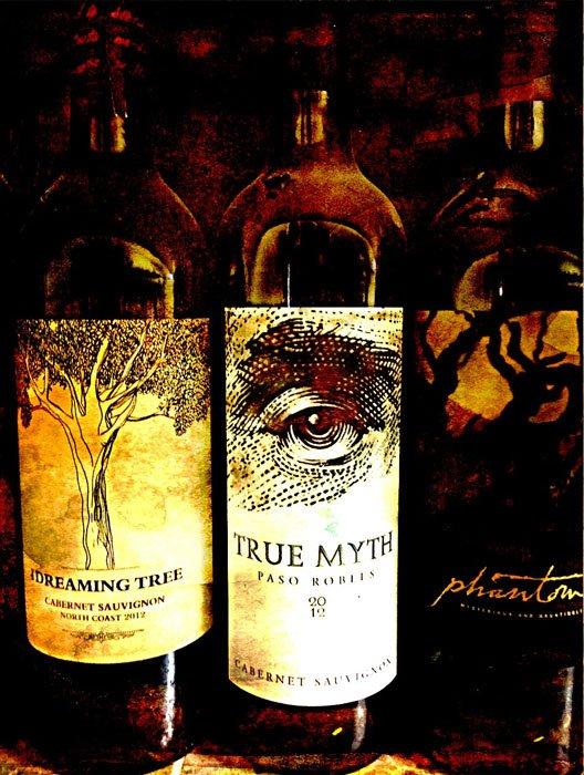 Three wine bottles: Dreaming Tree, True Myth, Phantom