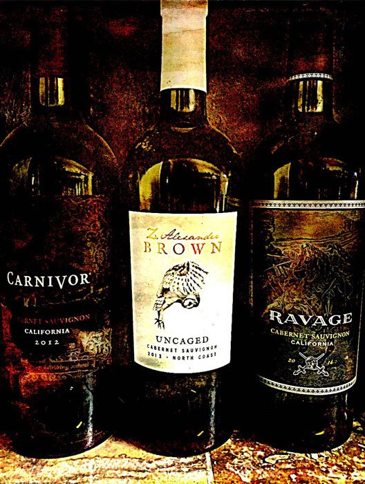 Three wine bottles: Carnivor, Uncaged, Ravage