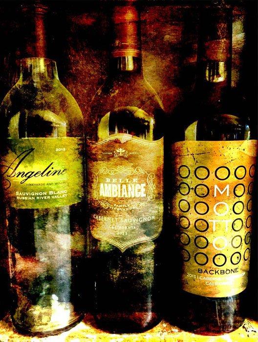 Three wine bottles: Angeline, Belle Ambiance, Motto: Backbone