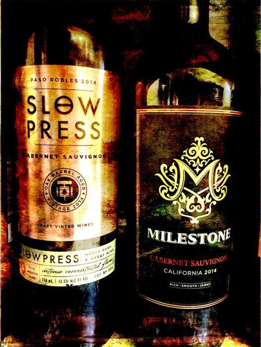 Two wine bottles: Slow Press, Milestone