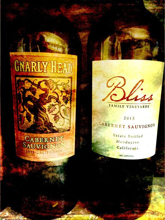Two wine bottles: Gnarly Head, Bliss