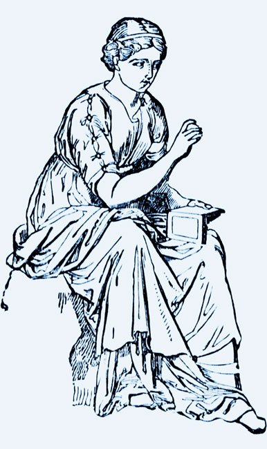 a drawing of the muse Calliope