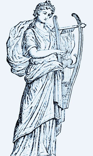 a drawing of the muse Erato
