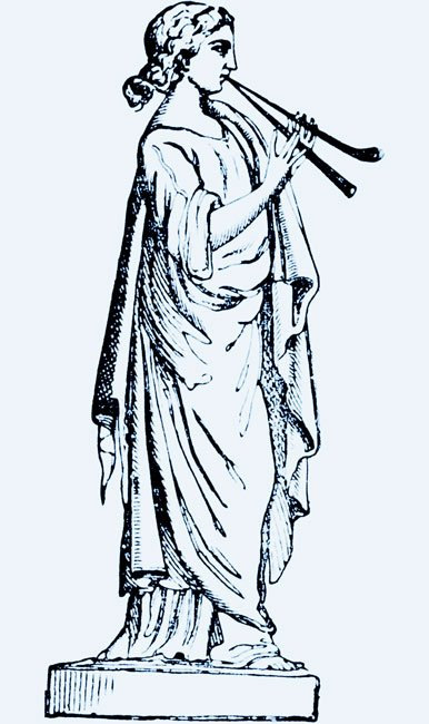 a drawing of the muse Euterpe