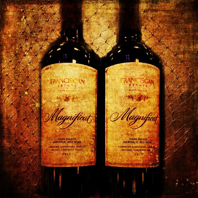 Two wine bottles: both Magnificat