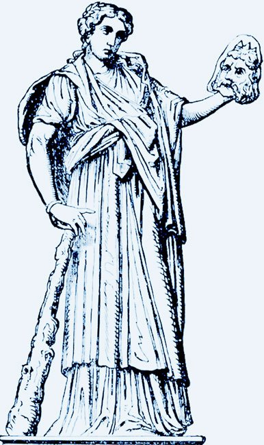 a drawing of the muse Melpomene