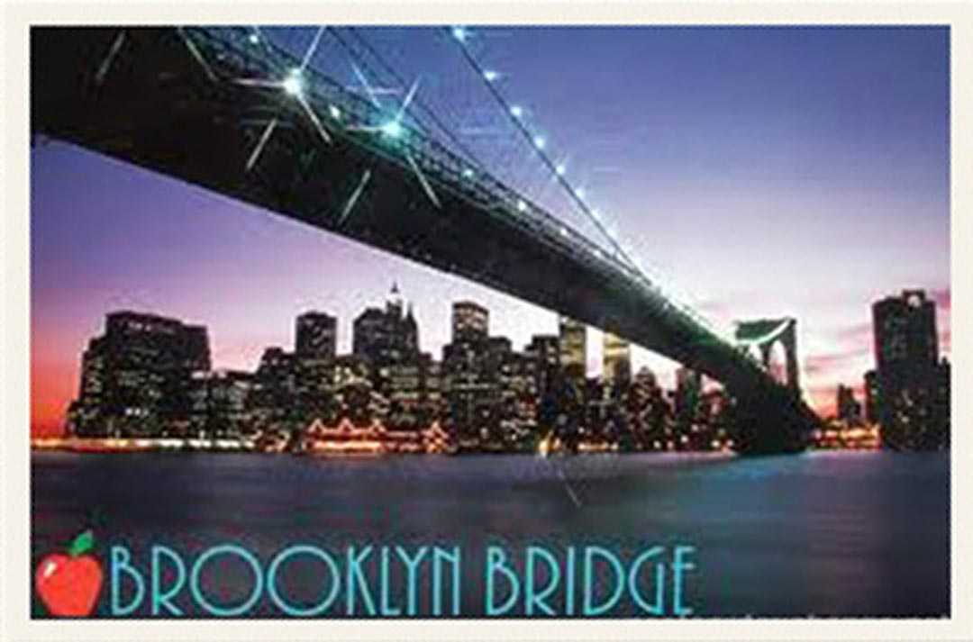 a postcard of the Brooklyn Bridge