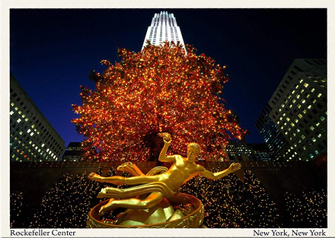 a postcard of Rockefeller Center in NYC