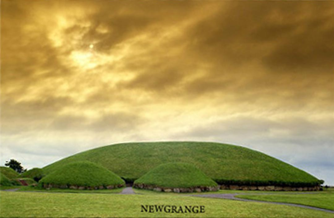 a postcard of Newgrange in Ireland