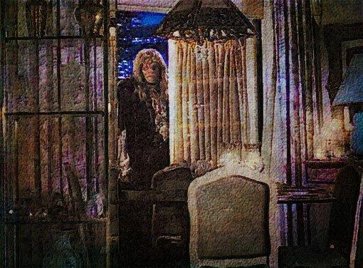 Vincent on the balcony, looking through Catherine's open door