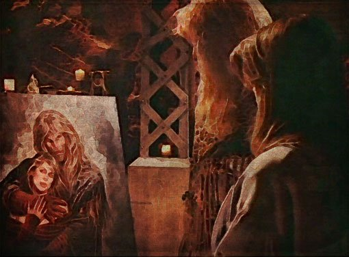 In Vincent's Chamber, Catherine and Vincent gaze on Kristopher's painting
