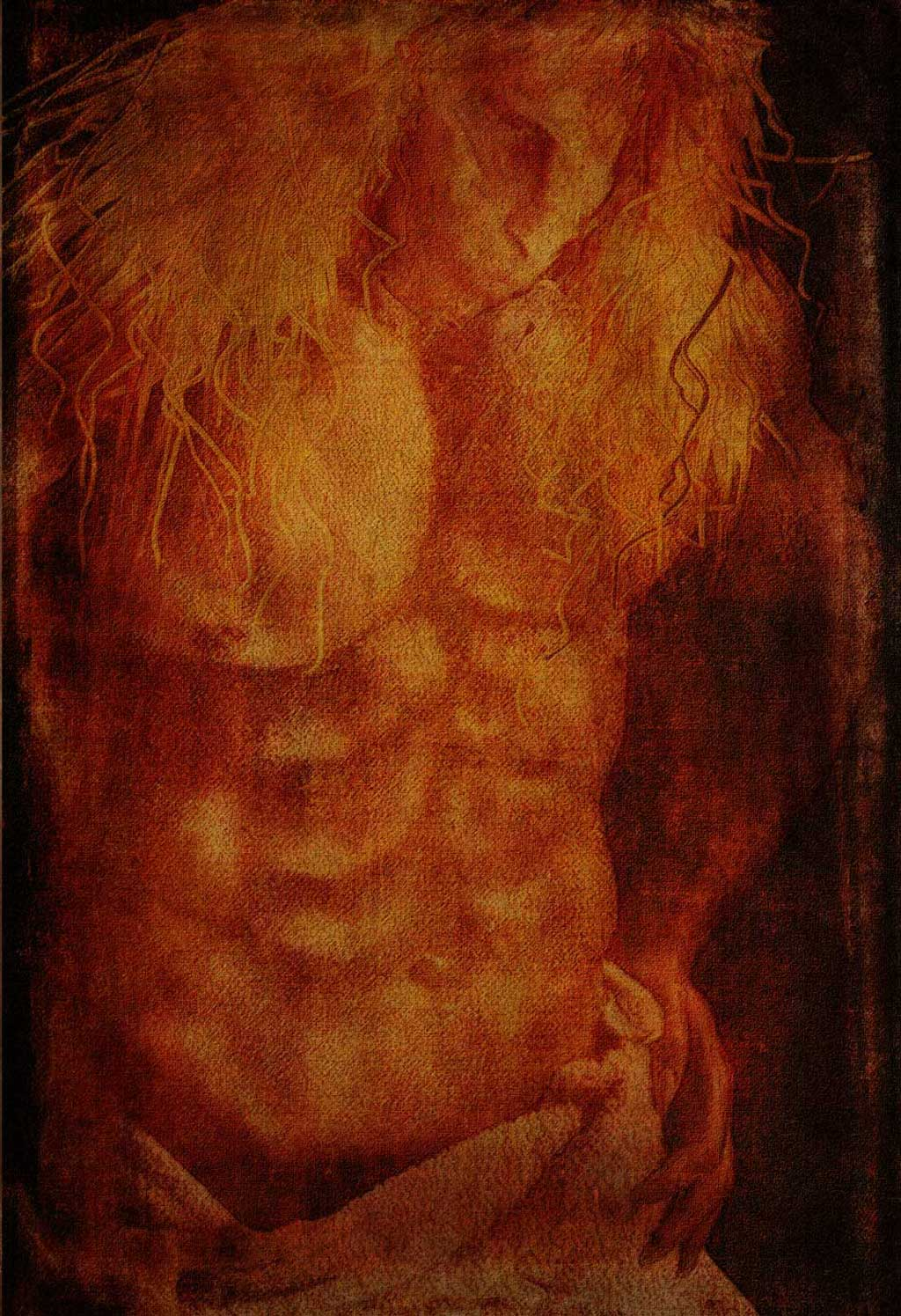 Vincent, shirtless, his hips draped in a towel after a bath