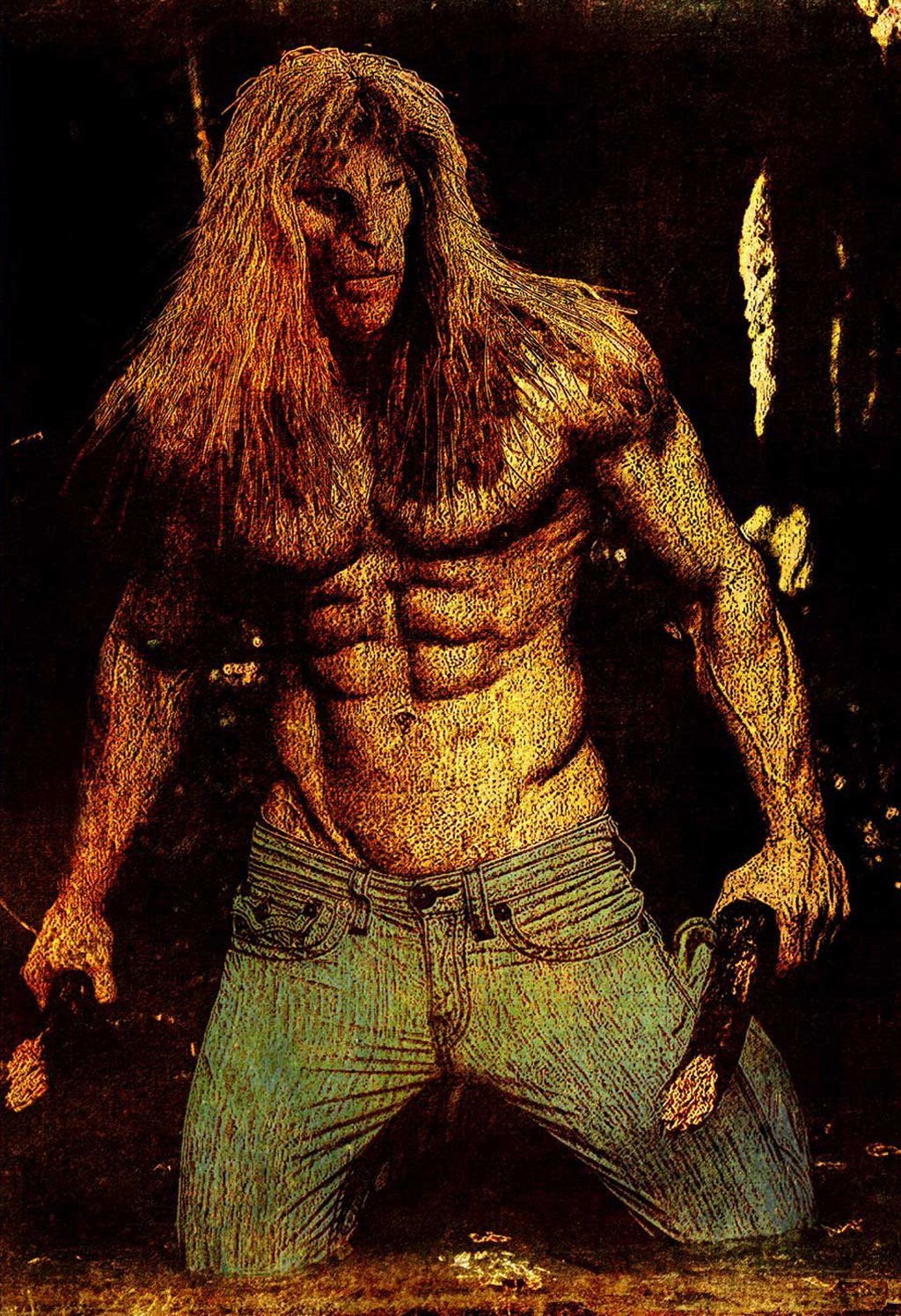 Vincent, shirtless, on his knees in a slightly flooded tunnel, clearing it of broken branches