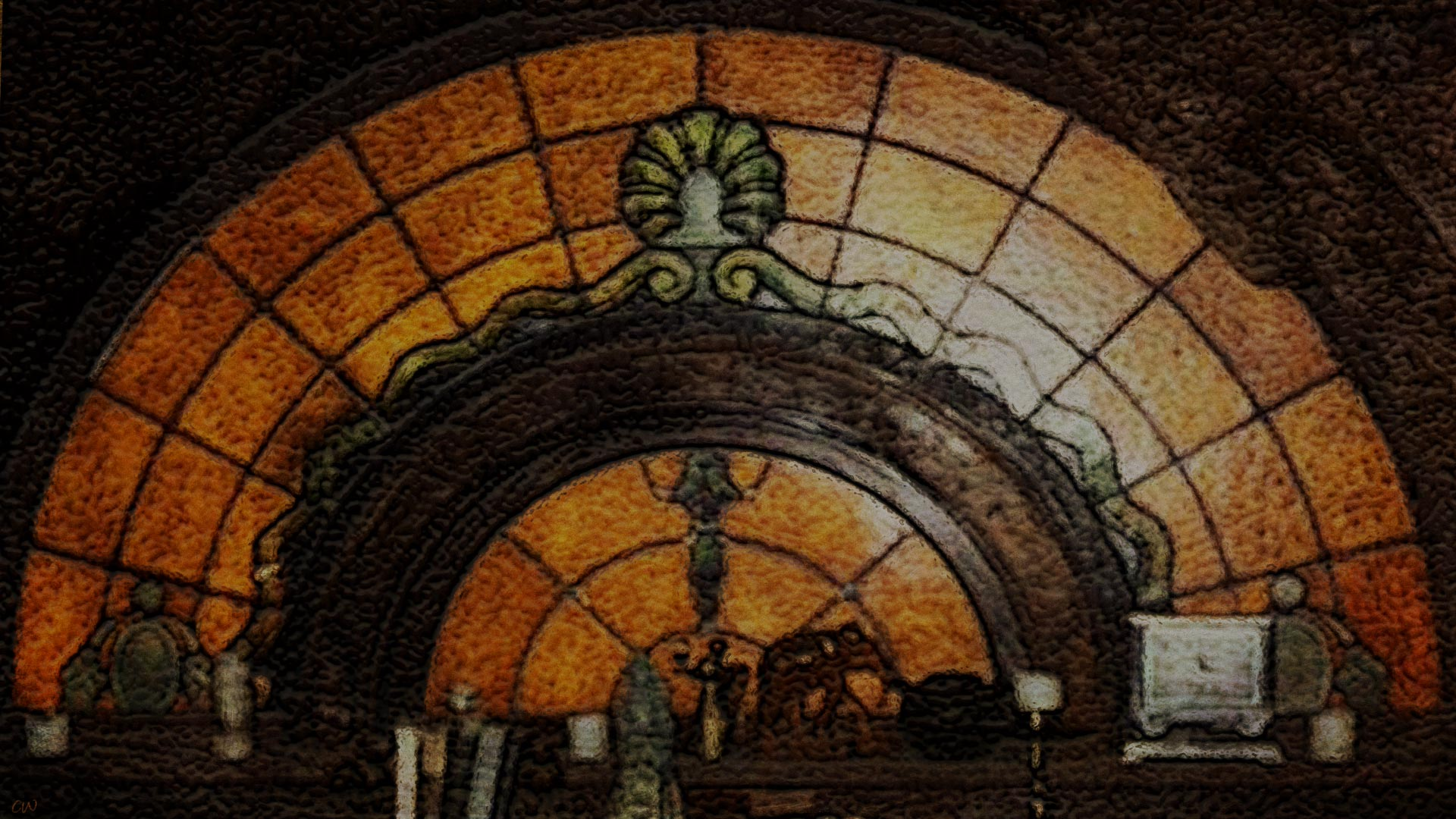Vincent's stained glass window close-up