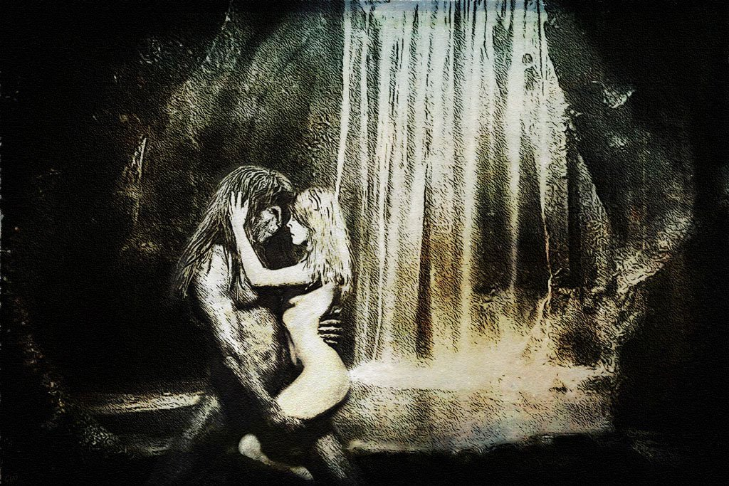 Catherine and Vincent in a lovers embrace in a bathing chamber. Behind them, the waterfall, the bathing pool. Vincent is on his knees, Catherine pulled close.