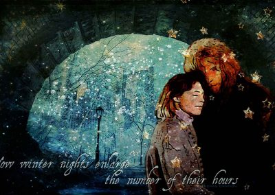 Wallpaper - C & V in a close embrace beneath an arch in the park. Beyond the arch, it's snowing. Text reads:Now Winter nights enlarge the number of their hours. Thomas Campion