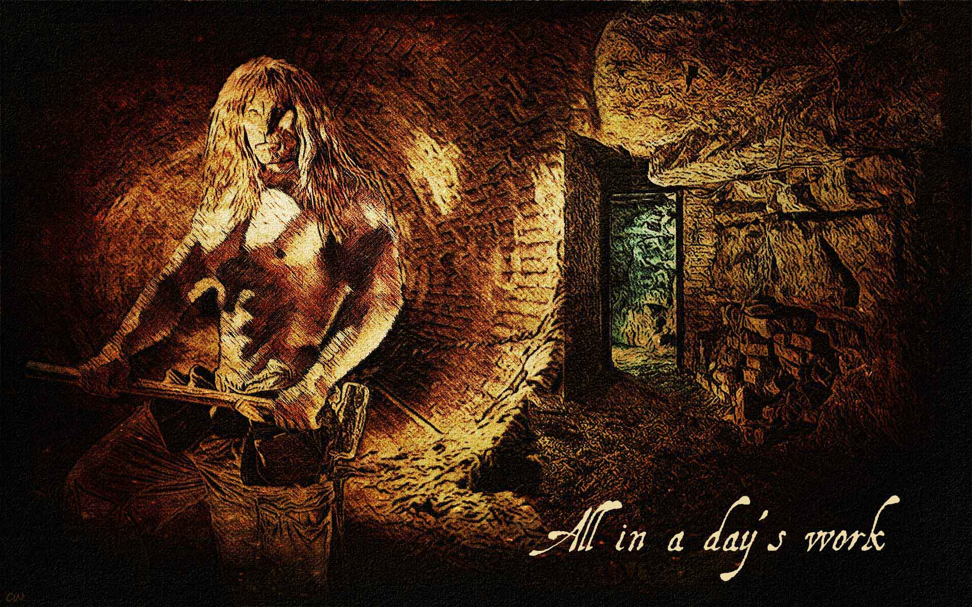 Vincent shirtless holding a heavy hammer, behind him rubble in a tunnel. Text reads: All in a day's work