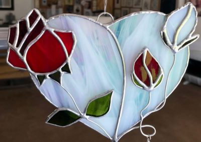 V/C stained glass red and white rose and heart