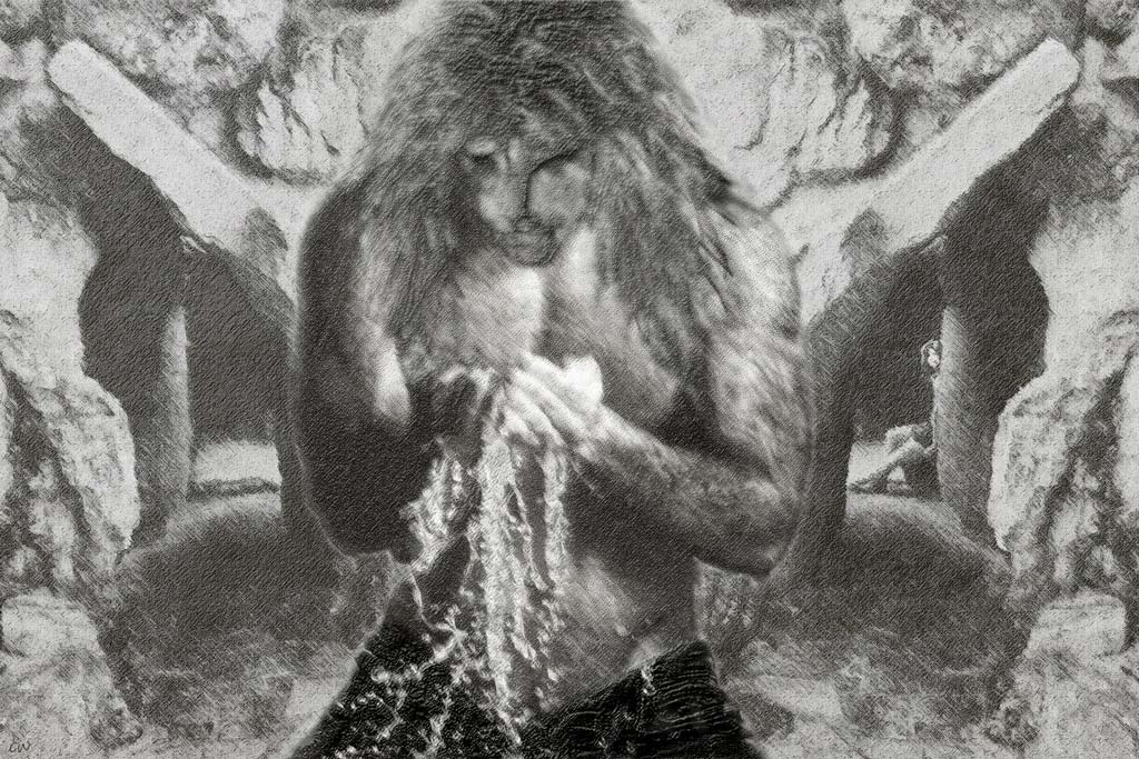 B/W drawing technique - V (shirtless) washing his face. In the background, inside a deeper bathing chamber, C awaits