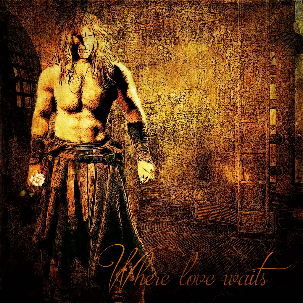 V (shirtless) in a warrior's kilt and holding a white rose stands at the bottom of a ladder. Text reads: Where love waits.