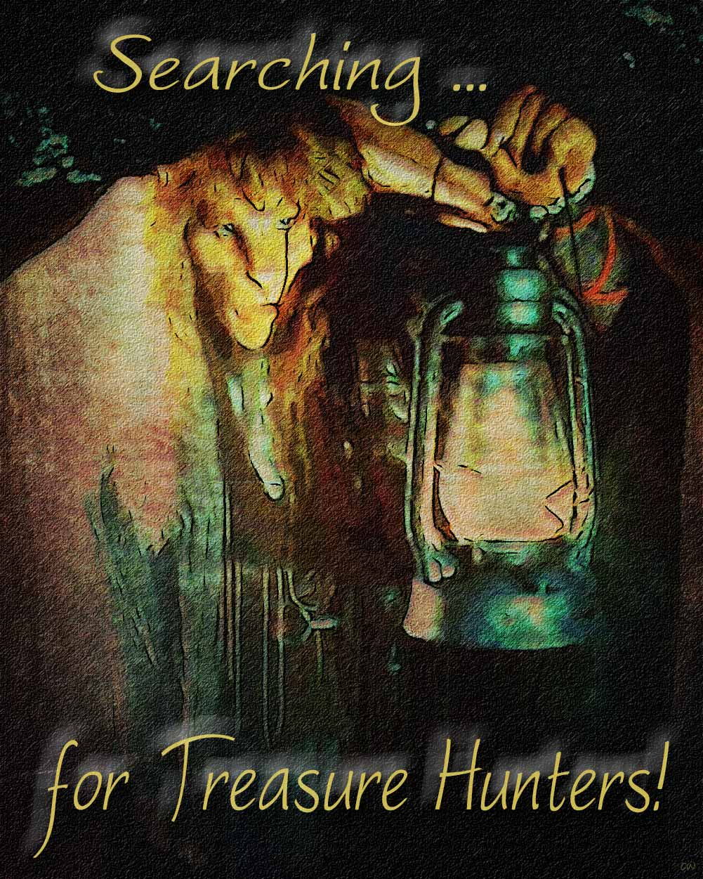 Vincent holding a lantern before him. Text reads: Searching for Treasure Hunters