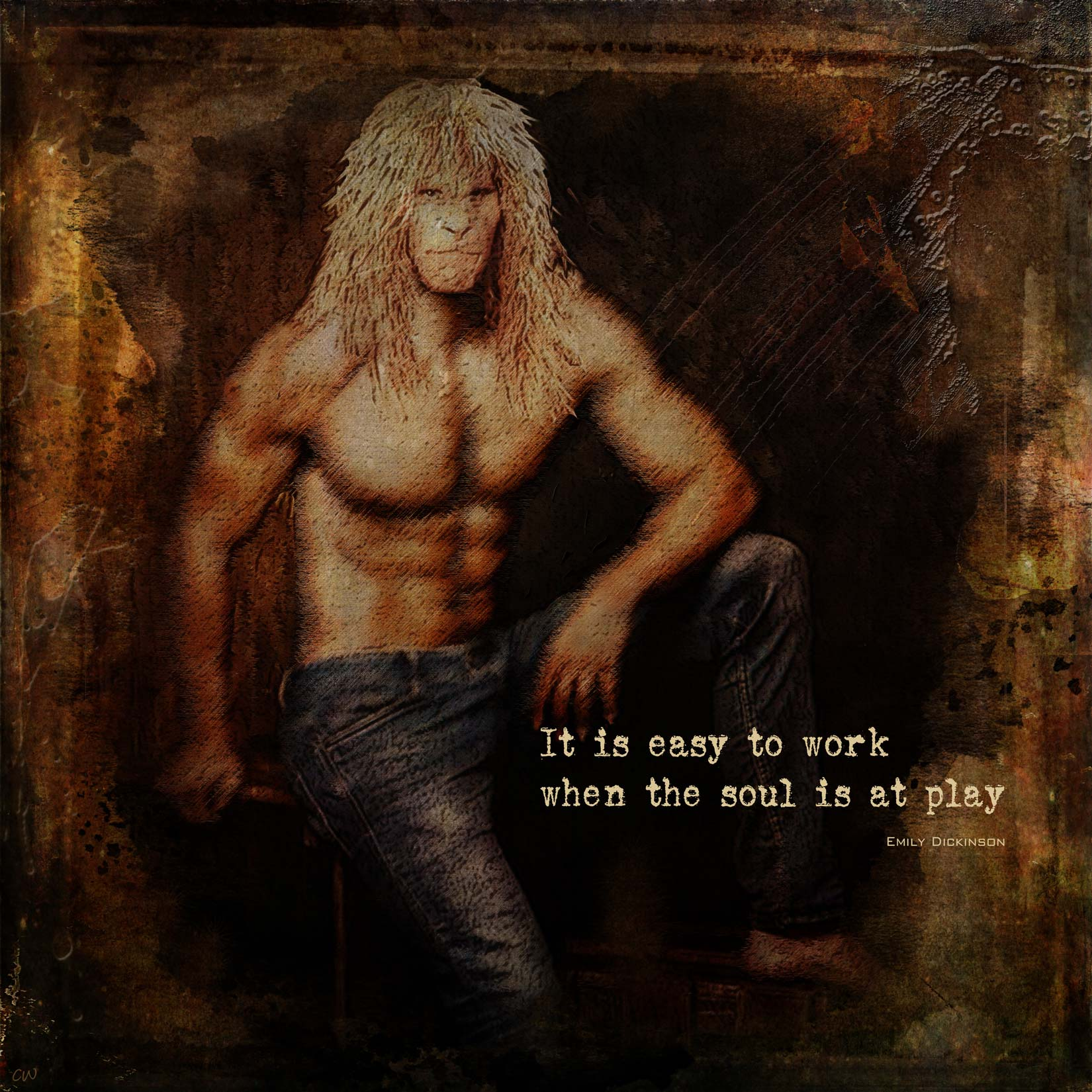 Vincent shirtless in jeans. Text reads: It is easy to work when the soul is at play (Emily Dickinson)