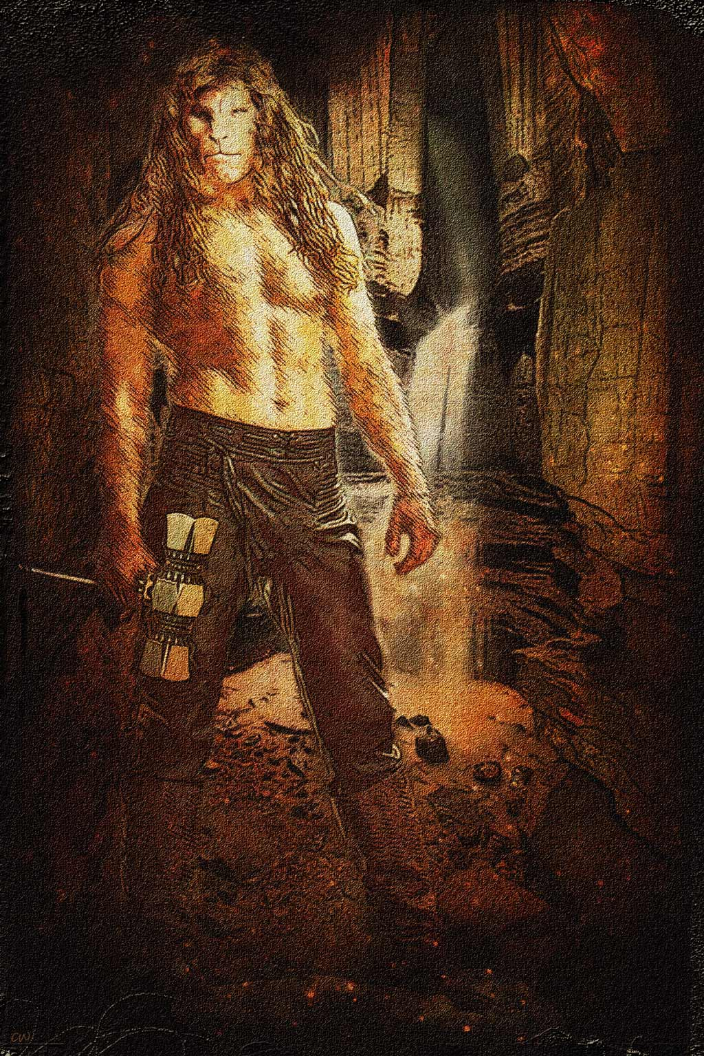 Vincent shirtless carrying a big hammer standing on a rock in a deep cavern.