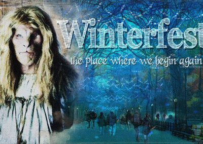 Vincent in front of a night time Central Park scene in which Winterfest visitors are approaching the entrance holding candles. Text reads: Winterfest - The place where we begin again (Carrie Newcomer)