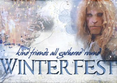 Vincent, looking all snowy, behind him a vision of the candlelit Great Hall table. Text reads: Winterfest: Kind friends all gathered 'round (Kate Wolf)