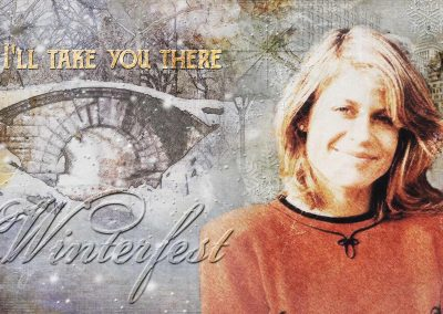 Catherine in a snowy Central Park. Text reads: Winterfest: I'll take you there (Staple Singers)