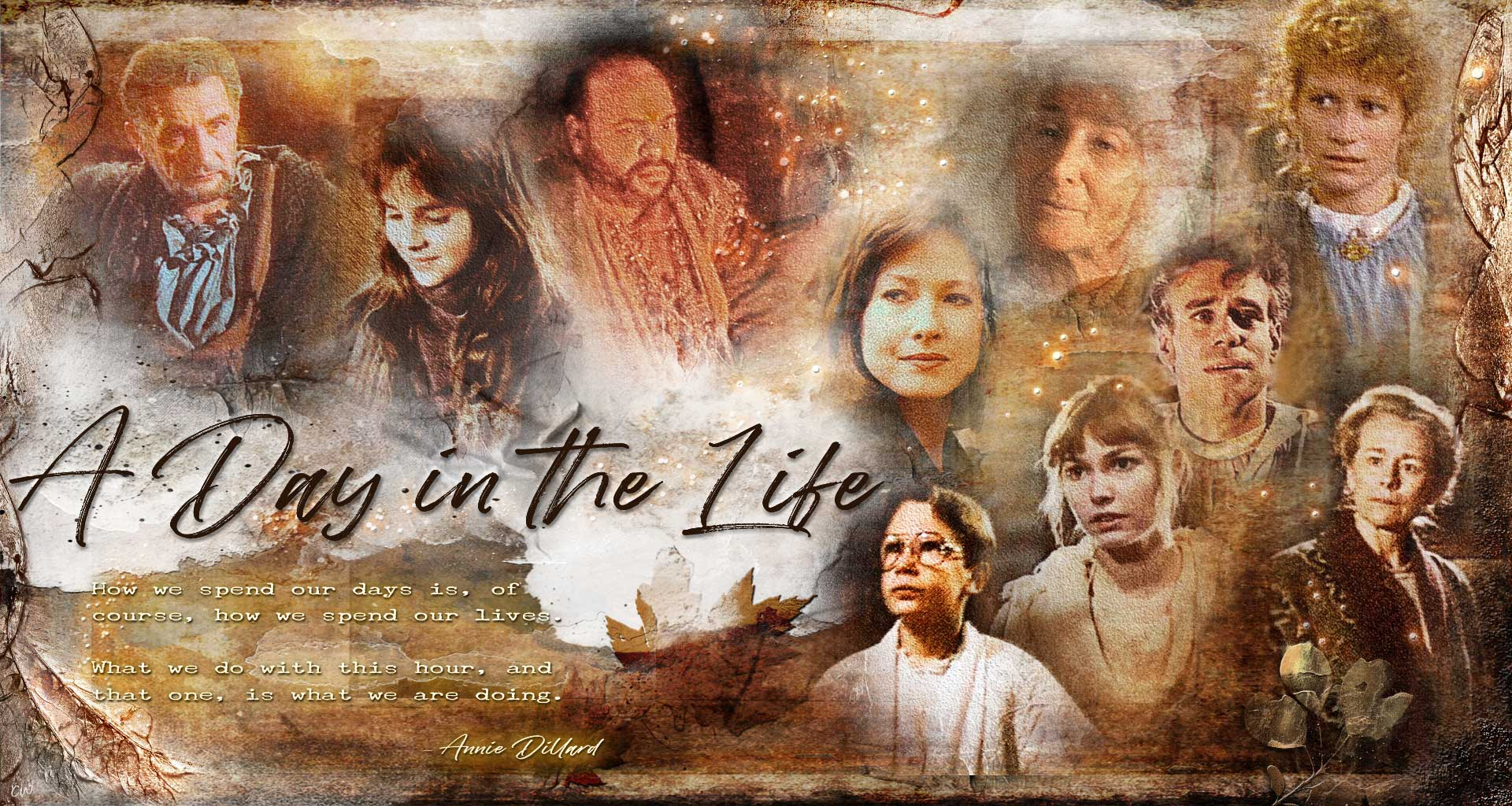 A Day in the Life wallpaper: 10 characters pictures. Father, Samantha, Winslow, Lisa, Elizabeth, Rebecca, Kanin, Mary, Jamie, and Eric. Test reads: A Day in the Life. How we spend our days is, of course, how we spend our lives. What we do with this hour, and that one, is what we are doing. Annie Dillard