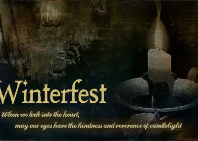 A candle burning, a scene of Winterfest in the background. Text reads: Winterfest: When we look into the heart, may our eyes have the kindness and reverence of candlelight. John O'Donohue