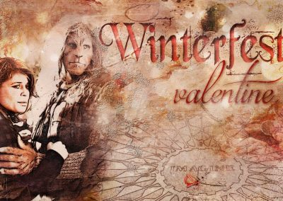 Vincent and Catherine in Central Park at the Imagine mosaic. Text reads: Winterfest Valentine