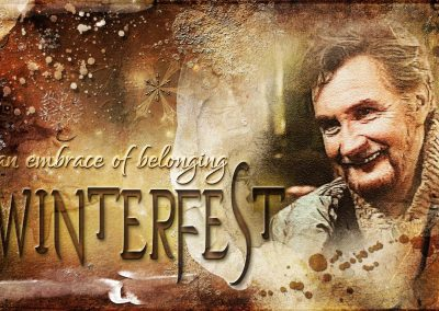 Father's smiling face. Text reads: Winterfest, an embrace of belonging
