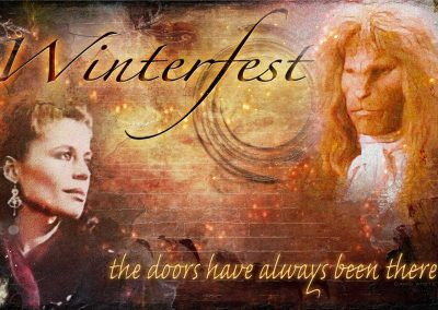 Vincent and Catherine turned to gaze at each other before a brick-like background and a swirl like a tunnel. Text reads: Winterfest - the doors have always been here.
