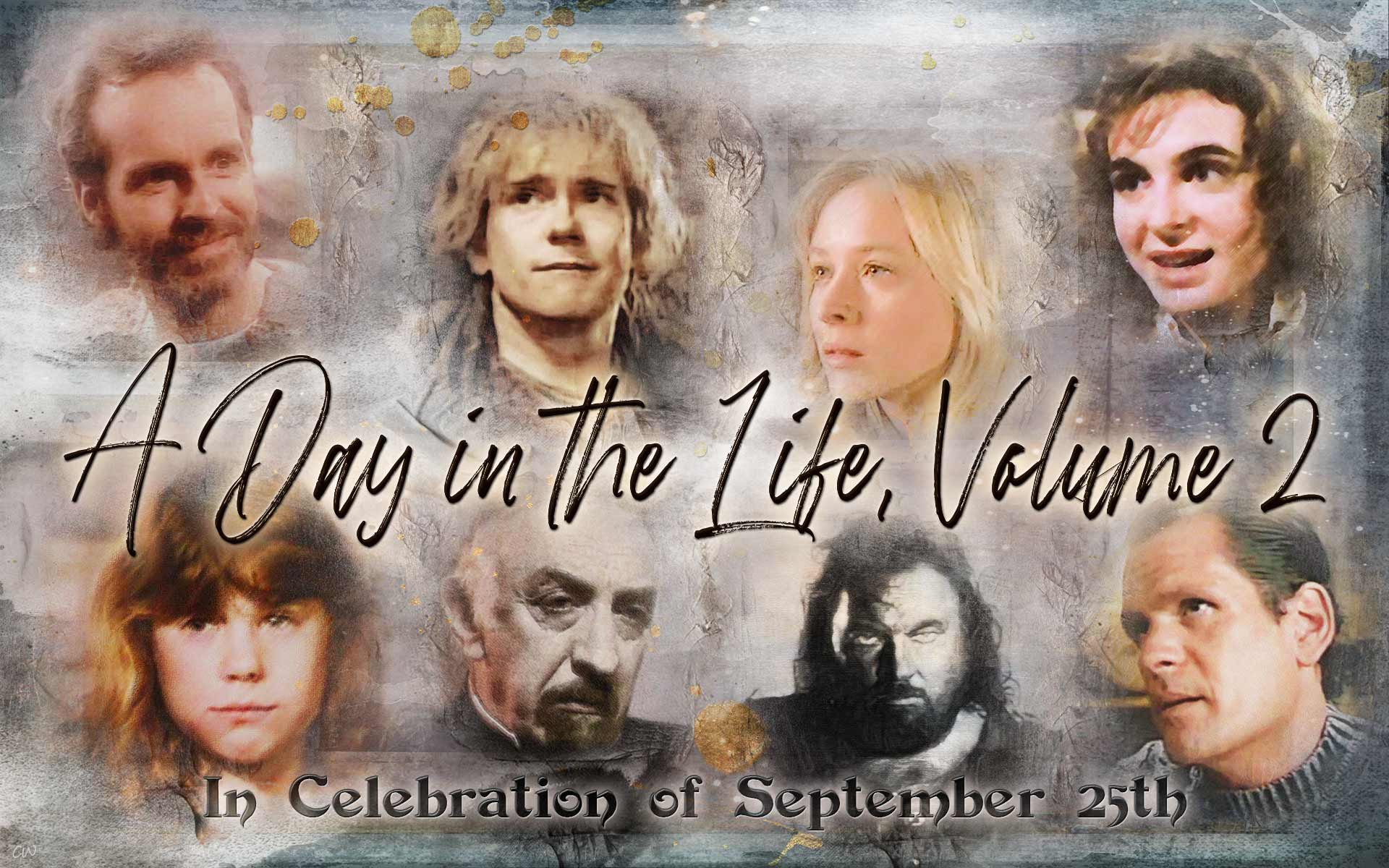 A Day in the Life volume 2 main graphic with the portraits of the 8 characters with stories
